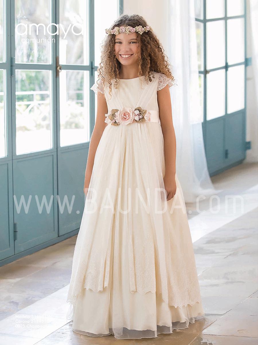 04d9922e2d1 Baunda Vestido comunión champán Amaya 2019 931 Madrid y tienda online