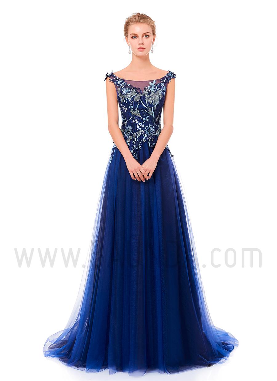 ce52d7f37 Baunda Vestido largo de tul azul marino 2019 XM 8077 Madrid y tienda ...