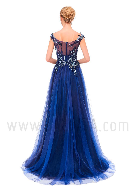 2517ed47d Baunda Vestido largo de tul azul marino 2019 XM 8077 Madrid y tienda ...