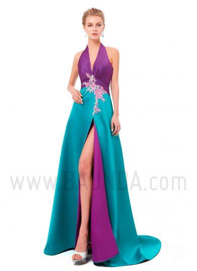 Vestido largo bicolor 2019 XM 8079 morado y turquesa