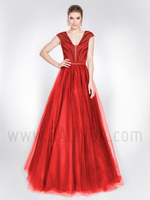 Vestido largo de tul rojo 2019 Alma Couture 1011
