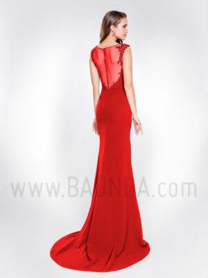 Vestido largo sirena rojo 2019 Alma Couture 1065 espalda