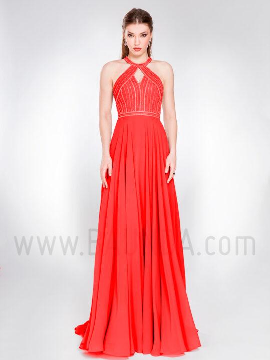 Vestido largo sencillo rojo 2019 XM 49053