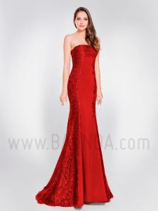 Vestido largo palabra de honor burdeos 2019 XM 8035