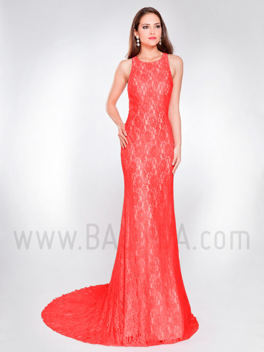 Vestido largo de encaje rojo y champán 2019 XM 8054