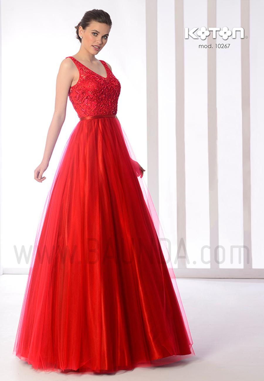 Vestido largo rojo 2019 Koton 10267