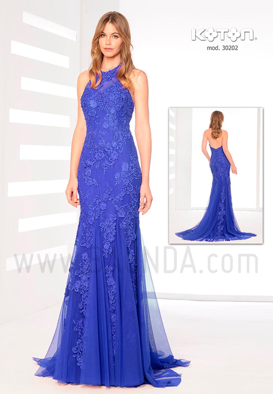Vestido fiesta 2019 azul Koton 30202