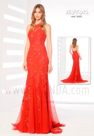 Vestido fiesta 2019 rojo Koton 30202