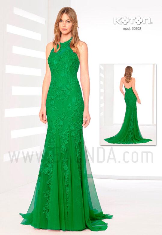 Vestido fiesta 2019 verde Koton 30202