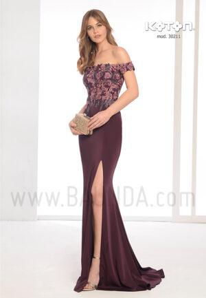 Vestido de fiesta Koton 201930211 berenjena