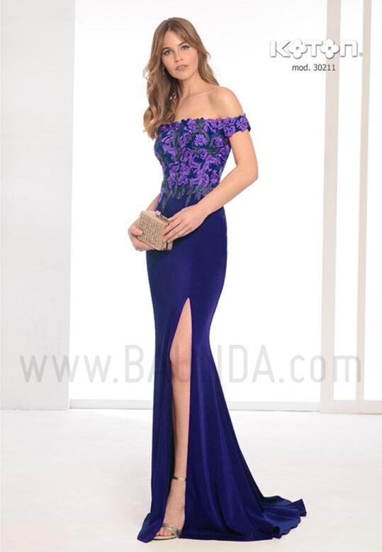 Vestido de fiesta 2019 Koton 30211 azul marino