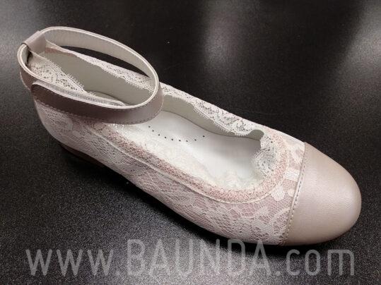 Zapatos de comunión de encaje rosa 2019 Baunda Z1901