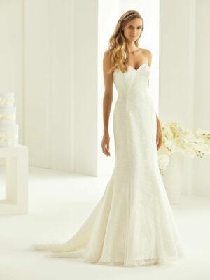 Vestido de novia de corte sirena y palabra de honor