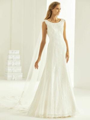 vestido de novia de encaje semisirena