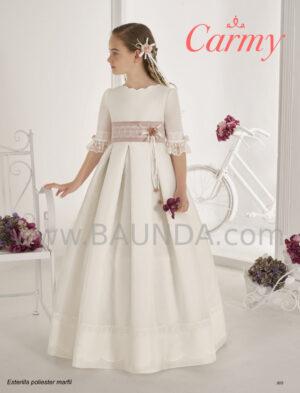 Vestido comunión estilo clásico en tejido rústico colección Carmy 2020.