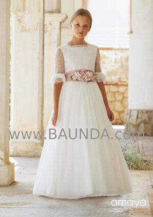 Vestido comunión romántico con fajín rosa de Amaya 2020 modelo 016 en tul