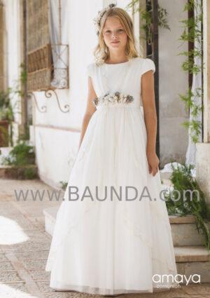 Vestido comunión romántico con tonos pastel en el cinturón de Amaya 2020 modelo 030 estilo ibicenco