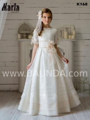 Vestido de comunión en tejido rústico con vainicas