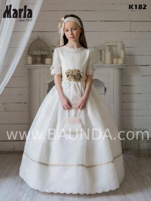 vestido de comunión de colección Marla 2020 elegante en tejido rústico y detalles salmón