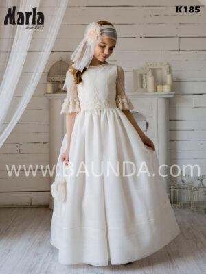 Vestido de comunión de colección Marla 2020 elegante en tejido rústico y plumeti