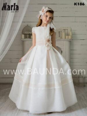 Vestido de comunión de Marla 2020 en tejido rústico con encaje