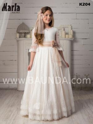 Vestido de comunión romántico de Marla 2020 original en tejido plumeti con escote pico redondeado