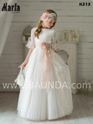 vestido de comunión de Marla 2020 confeccionado en tul y efecto de sobrefalda en encaje de margaritas.