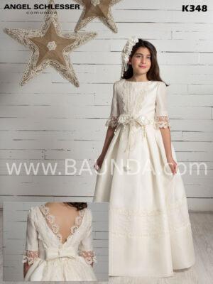 vestido de comunión sofisticado Angel Schlesser 2020 modelo K348 en seda natural brocada.