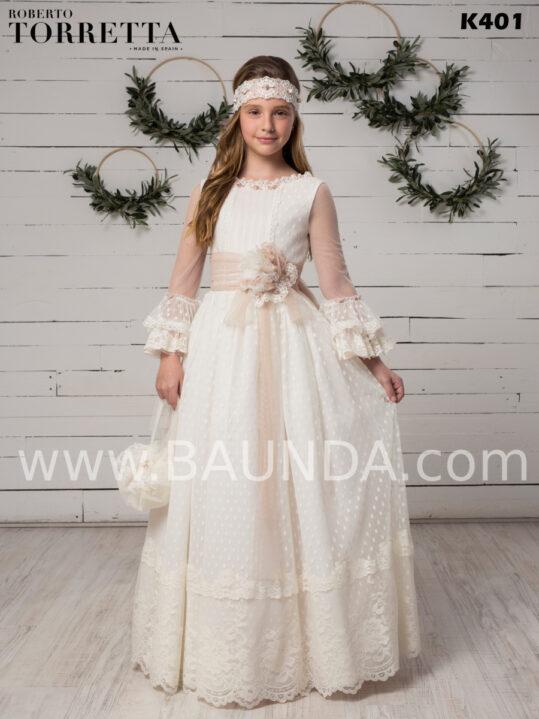 Vestido comunión de encaje espectacular y romántico deRoberto Torretta 2020 modelo J40