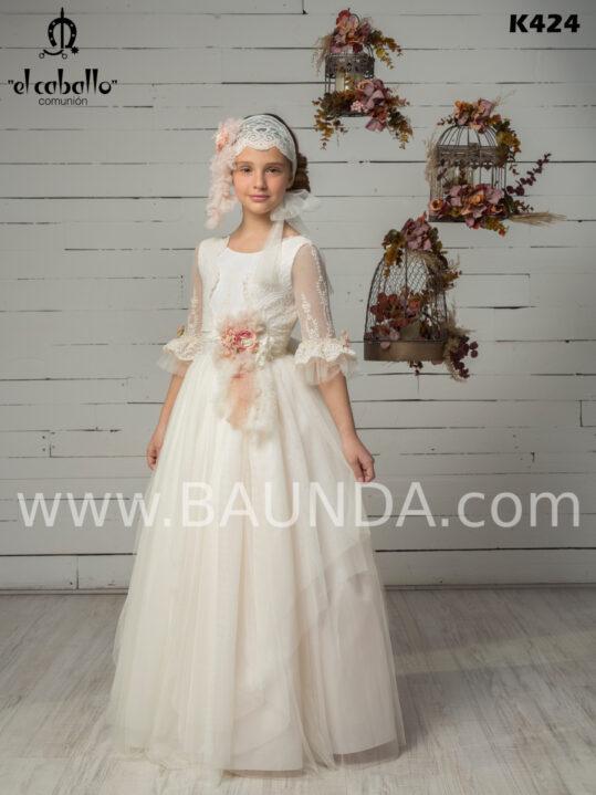 Vestido comunión encaje 2020 El Caballo modelo K234 espectacular y elegante.