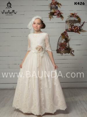 Vestido comunión de guipur 2020 El Caballo modelo K426, espectacular y elegante