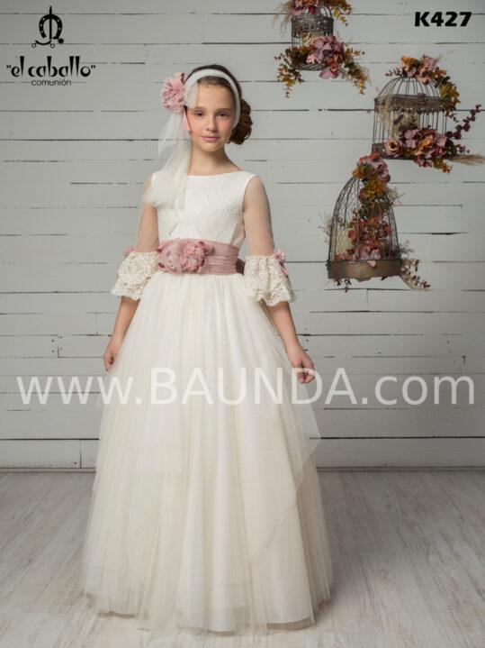 vestido comunión de encaje y tul 2020 El Caballo modelo K427 maravilloso, dulce y moderno