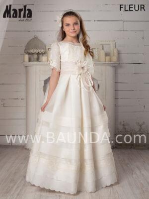 Vestido de comunión en seda natural Valeria 2020 modelo Fleur, clásico y elegante