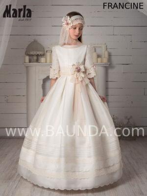 Vestido de comunión Valeria colección 2020 modelo Francine de seda natural.