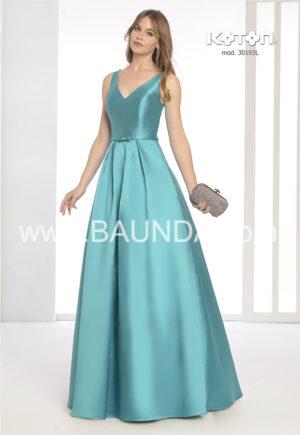 vestido_fiesta_verde_escote_pico_falda_volumen_mikado