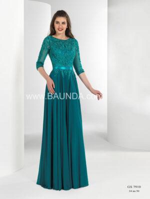 vestido_fiesta_verde_escote_redonde_manga_encaje_gasa
