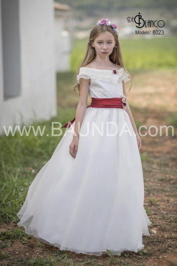 8023_vestido_comnunion_rojo_flor_escote_barco_organza_princesa