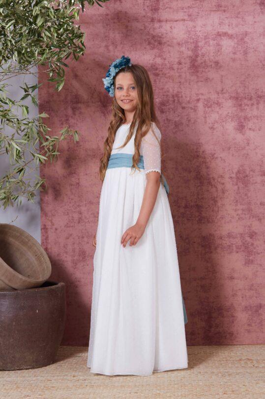 vestido de comunión sencillo azul